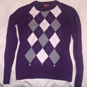 Purple argyle sweater size XS